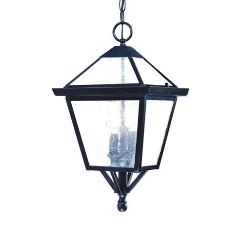 Charleston Matte Black Three-Light 18-Inch Outdoor Pendant