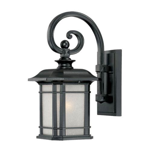 Somerset Matte Black Small 14.25-Inch Wall Lantern with Frosted Clear Seeded Glass