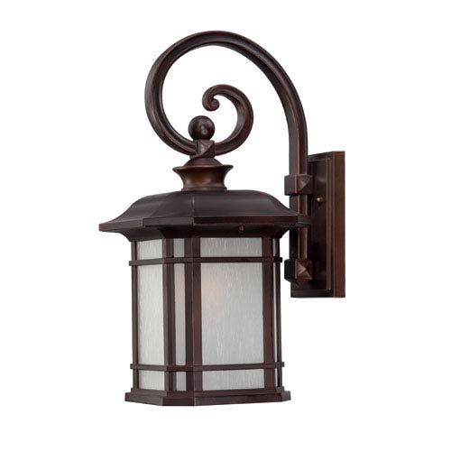 Somerset Architectural Bronze Medium 18.75-Inch Wall Lantern with Frosted Clear Seeded Glass