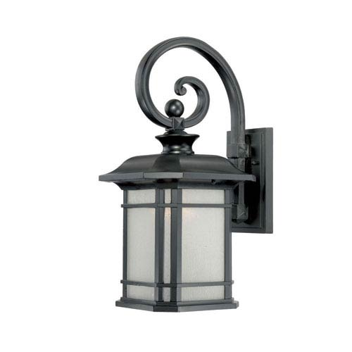 Acclaim Lighting Somerset Matte Black Medium 18.75-Inch Wall Lantern with Frosted Clear Seeded Glass