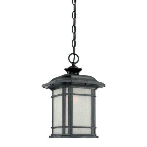 Acclaim Lighting Somerset Matte Black Medium 15-Inch Hanging Lantern with Frosted Clear Seeded Glass
