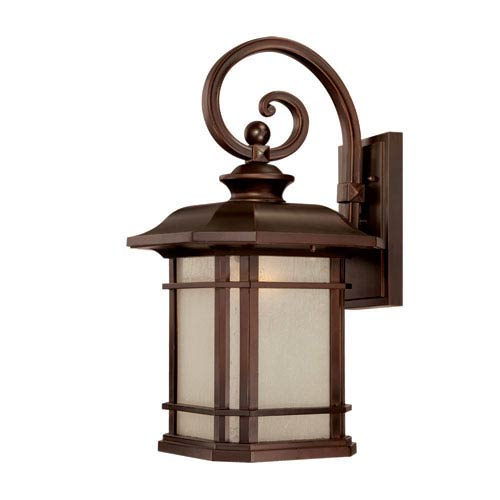 Somerset Architectural Bronze Large 22-Inch Wall Lantern with Frosted Clear Seeded Glass