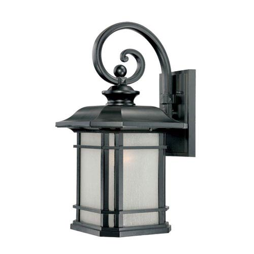 Acclaim Lighting Somerset Matte Black Large 22-Inch Wall Lantern with Frosted Clear Seeded Glass