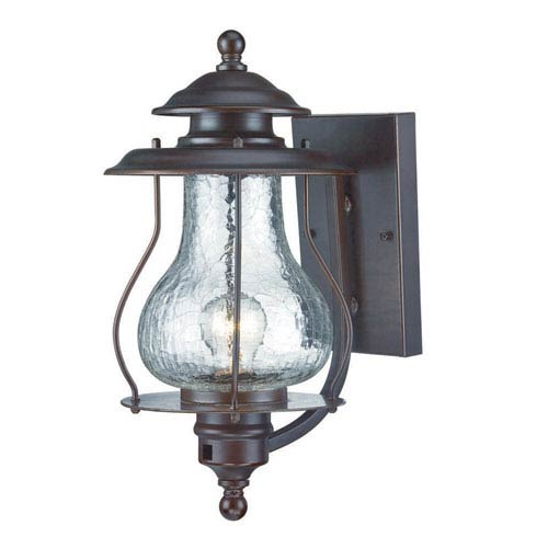 Blue Ridge Architectural Bronze One-Light Outdoor Wall Mount with Clear Crackled Glass