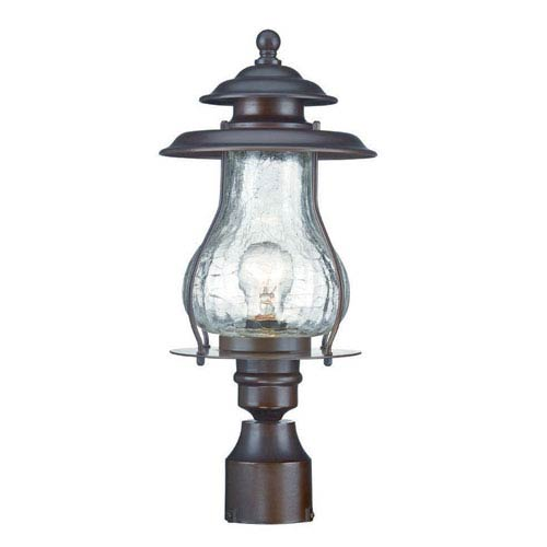 Blue Ridge Architectural Bronze One-Light Outdoor Post Mount with Clear Crackled Glass