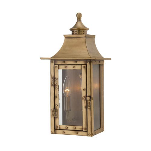 St. Charles Small Wall Lantern with Aged Brass Finish