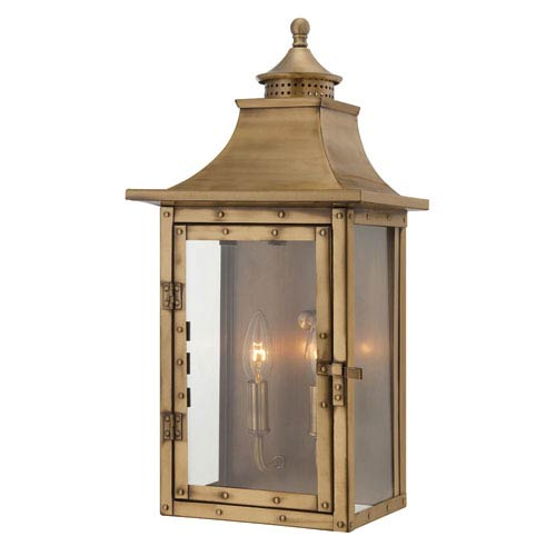 St. Charles Medium Wall Lantern with Aged Brass Finish
