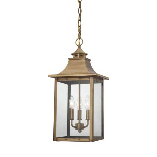 St. Charles Medium Hanging Lantern with Aged Brass Finish