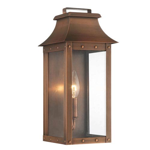 Manchester Copper Patina One-Light Outdoor Wall Mount  sc 1 st  Bellacor & Copper Outdoor Wall Lighting Free Shipping | Bellacor