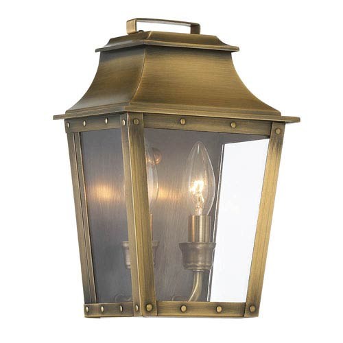 Coventry Aged Brass 11-Inch Two-Light Outdoor Wall Mount