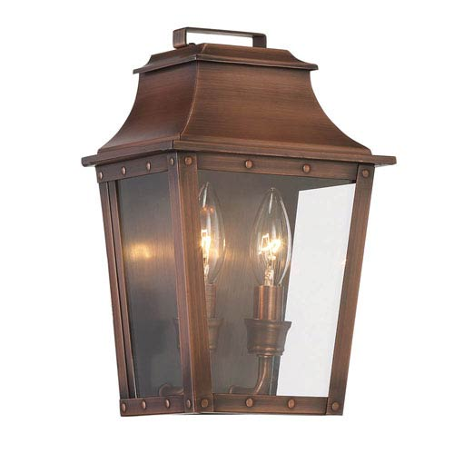 Coventry Copper Patina 11-Inch Two-Light Outdoor Wall Mount