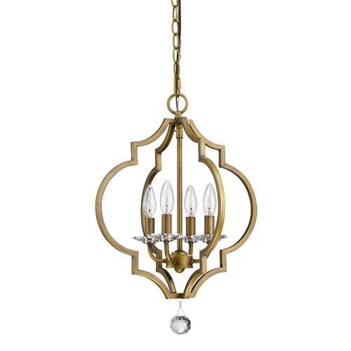 Acclaim Lighting Peyton Raw Brass 16-Inch Four-Light Chandelier