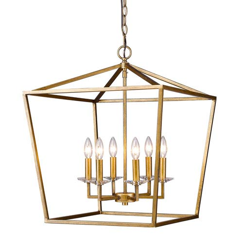 Kennedy Antique Gold Six-Light Chandelier