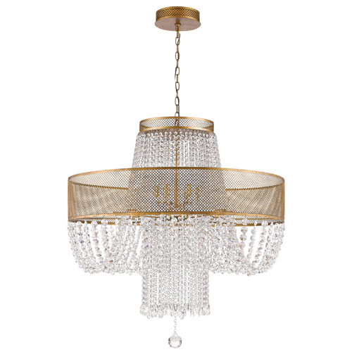 Viola Antique Gold 36-Inch Twelve-Light Chandelier
