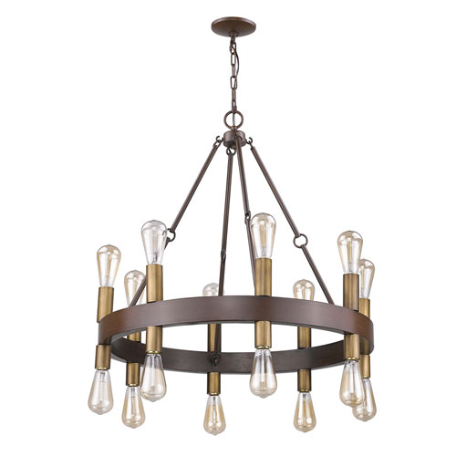 Cumberland Faux Wood Finish 28-Inch Sixteen-Light Chandelier