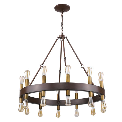 Cumberland Faux Wood Finish 42-Inch Twenty-Four Light Chandelier