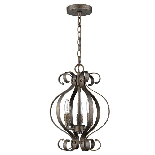 Lydia Russet 12-Inch Three-Light Chandelier