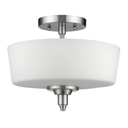 Paige Satin Nickel Two-Light Semi-Flush Mount