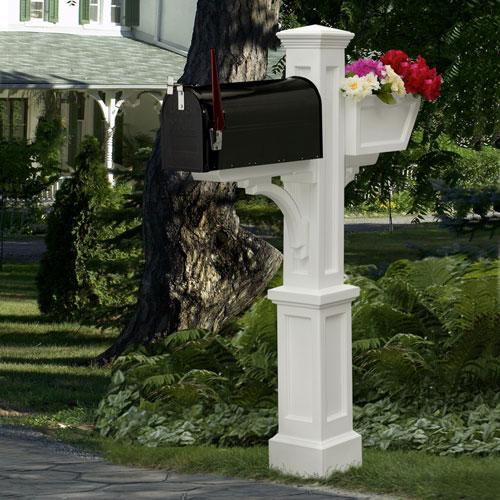 Mayne Westbrook Plus White Mailbox Post