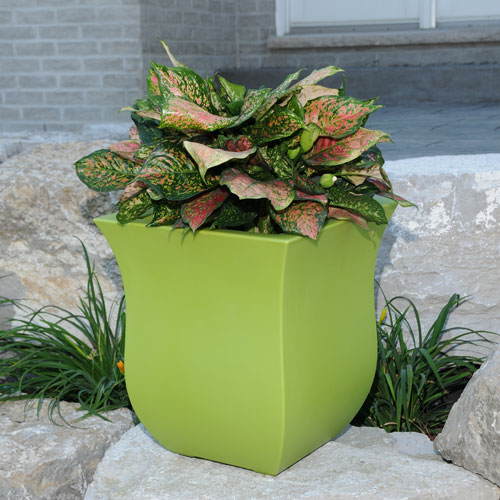Valencia 16X18 Square Planter - Macaw Green