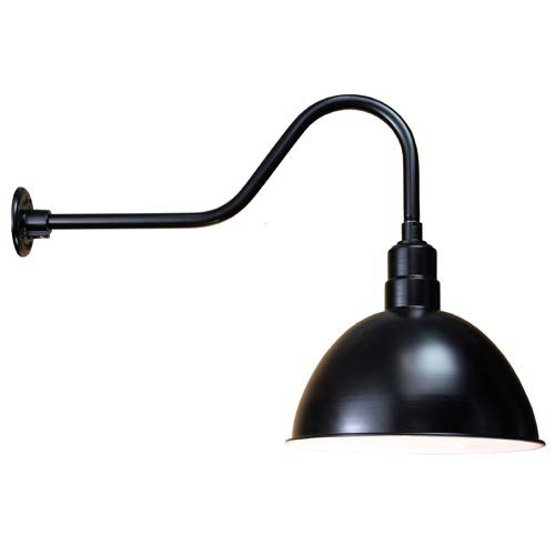 ANP Lighting Deep Bowl Black 16-Inch Outdoor Wall Light
