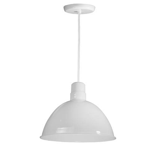 ANP Lighting Deep Bowl White 16-Inch Outdoor Pendant with White Cord