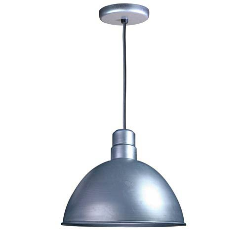 Deep Bowl Galvanized 16-Inch Outdoor Pendant with Black Cord