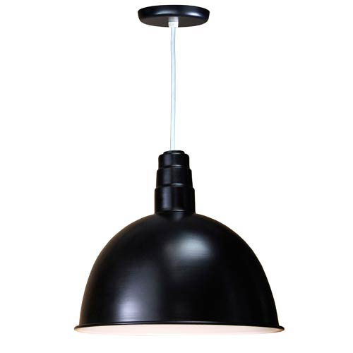 Deep Bowl Black 18-Inch Outdoor Pendant with White Cord