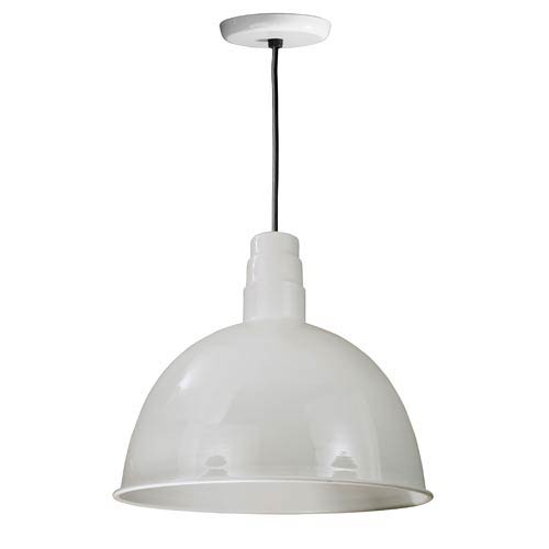 ANP Lighting Deep Bowl White 18-Inch Outdoor Pendant with Black Cord