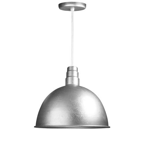 Deep Bowl Galvanized 18-Inch Outdoor Pendant with White Cord