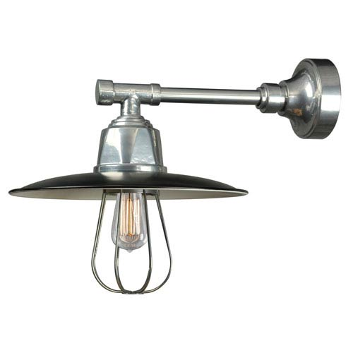 Retropolitan Black-Extreme Chrome One-Light Outdoor Wall Sconce