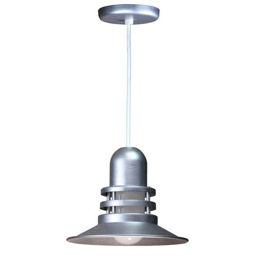 ANP Lighting Orbitor Galvanized 12-Inch Outdoor Pendant with Frosted Glass and White Cord