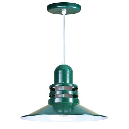 ANP Lighting Orbitor Forest Green 16-Inch Outdoor Pendant with Frosted Glass and White Cord