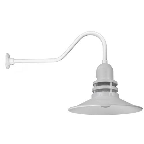 ANP Lighting Orbitor White 16-Inch Outdoor Wall Light with Frosted Glass