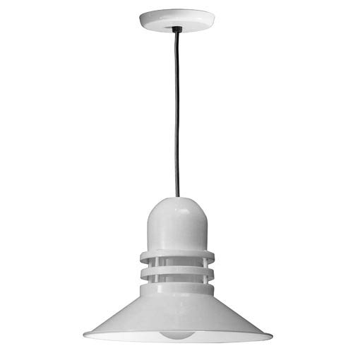 Orbitor White 16-Inch Outdoor Pendant with Frosted Glass and Black Cord
