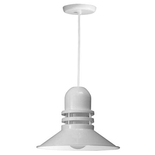 Orbitor White 16-Inch Outdoor Pendant with Frosted Glass and White Cord