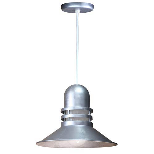 Orbitor Galvanized 16-Inch Outdoor Pendant with Frosted Glass and White Cord