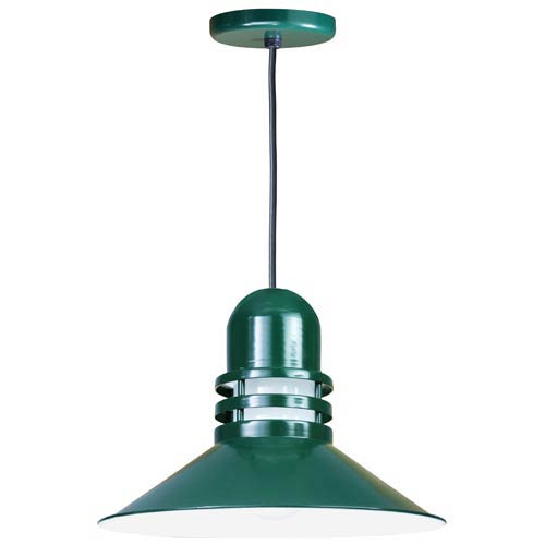Orbitor Forest Green 18-Inch Outdoor Pendant with Frosted Glass and Black Cord