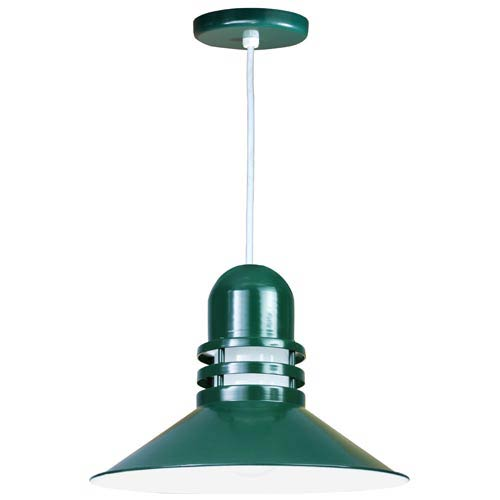 Orbitor Forest Green 18-Inch Outdoor Pendant with Frosted Glass and White Cord