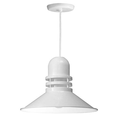 ANP Lighting Orbitor White 18-Inch Outdoor Pendant with Frosted Glass and White Cord