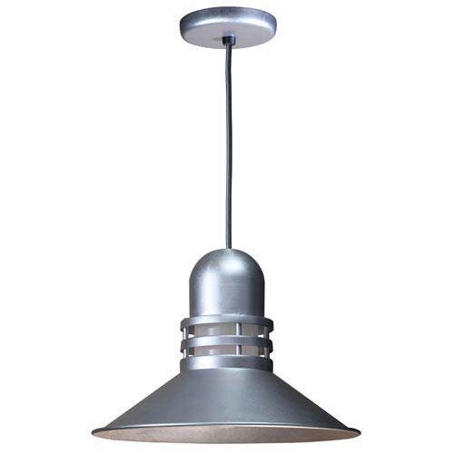 ANP Lighting Orbitor Galvanized 18-Inch Outdoor Pendant with Frosted Glass and Black Cord