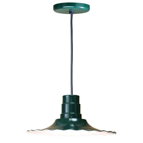 ANP Lighting Radial Forest Green 16-Inch Outdoor Pendant with Black Cord