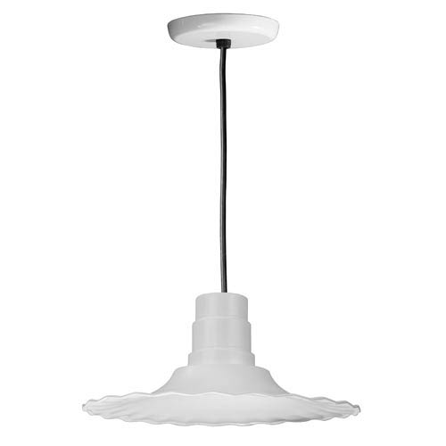 Radial White 16-Inch Outdoor Pendant with Black Cord