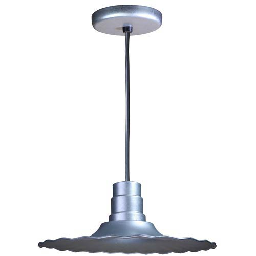 Radial Galvanized 16-Inch Outdoor Pendant with Black Cord
