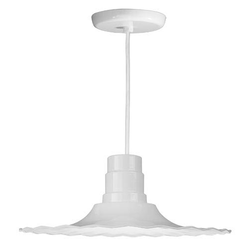 Radial White 18-Inch Outdoor Pendant with White Cord