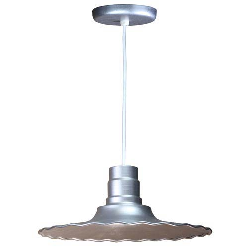 Radial Galvanized 18-Inch Outdoor Pendant with White Cord