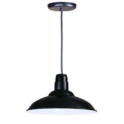 ANP Lighting Warehouse Black 16-Inch Outdoor Pendant with Black Cord