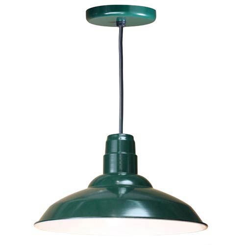Warehouse Forest Green 16-Inch Outdoor Pendant with Black Cord