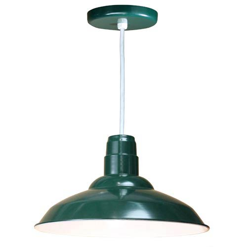 Warehouse Forest Green 16-Inch Outdoor Pendant with White Cord