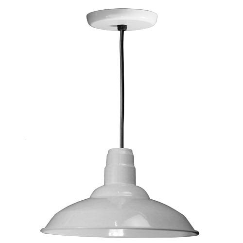 Warehouse White 16-Inch Outdoor Pendant with Black Cord